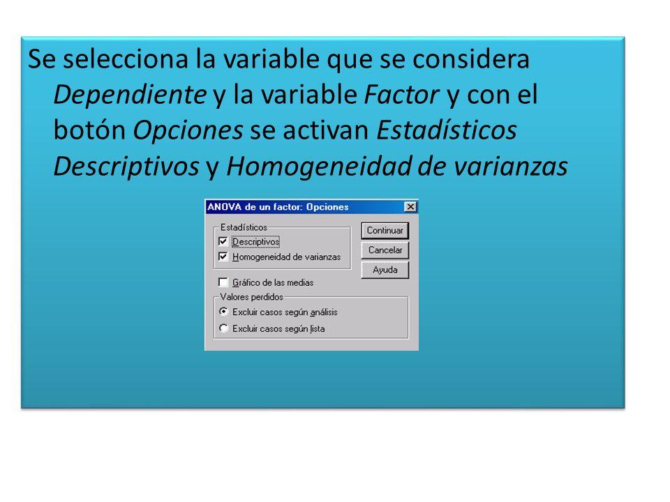 Al aceptar en el visor de resultados aparecen los siguientes cuadros: Descriptivos.