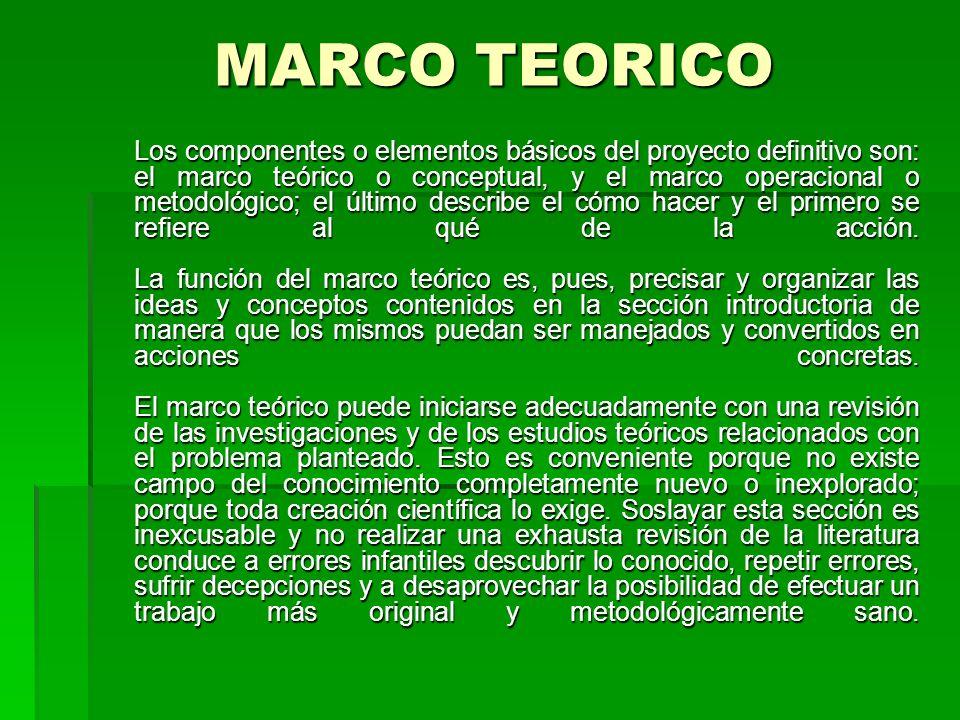 MARCO TEORICO MARCO TEORICO Los componentes o elementos básicos del proyecto definitivo son: el marco teórico o conceptual, y el marco operacional o m