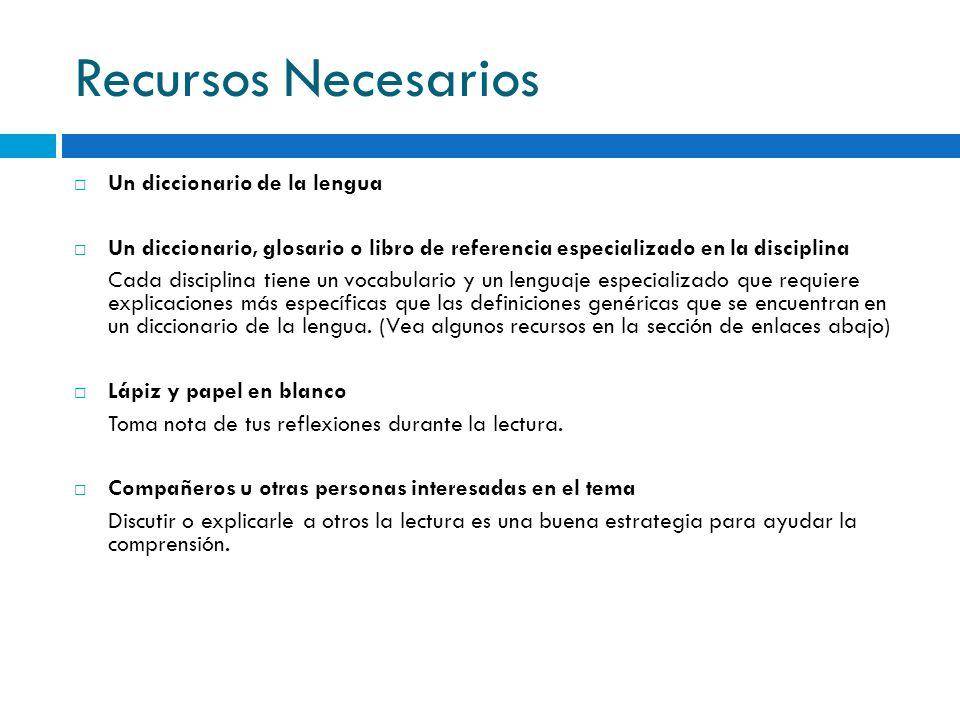 Recursos Necesarios Un diccionario de la lengua Un diccionario, glosario o libro de referencia especializado en la disciplina Cada disciplina tiene un