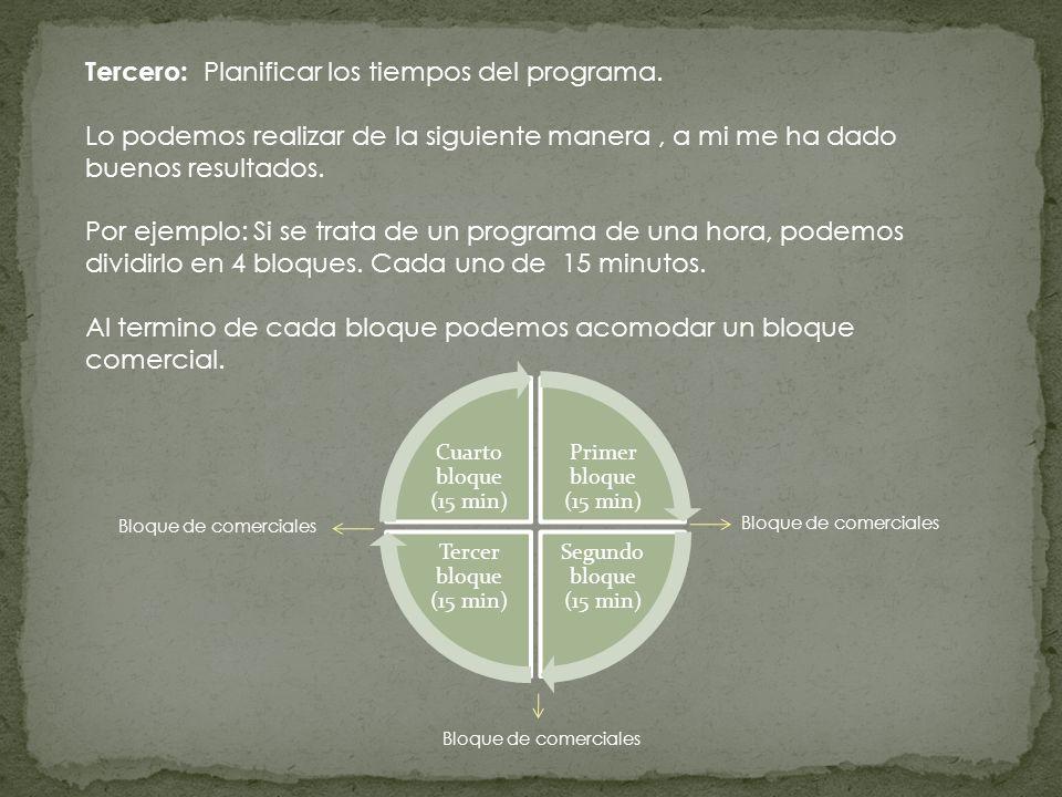 Tercero: Planificar los tiempos del programa. Lo podemos realizar de la siguiente manera, a mi me ha dado buenos resultados. Por ejemplo: Si se trata