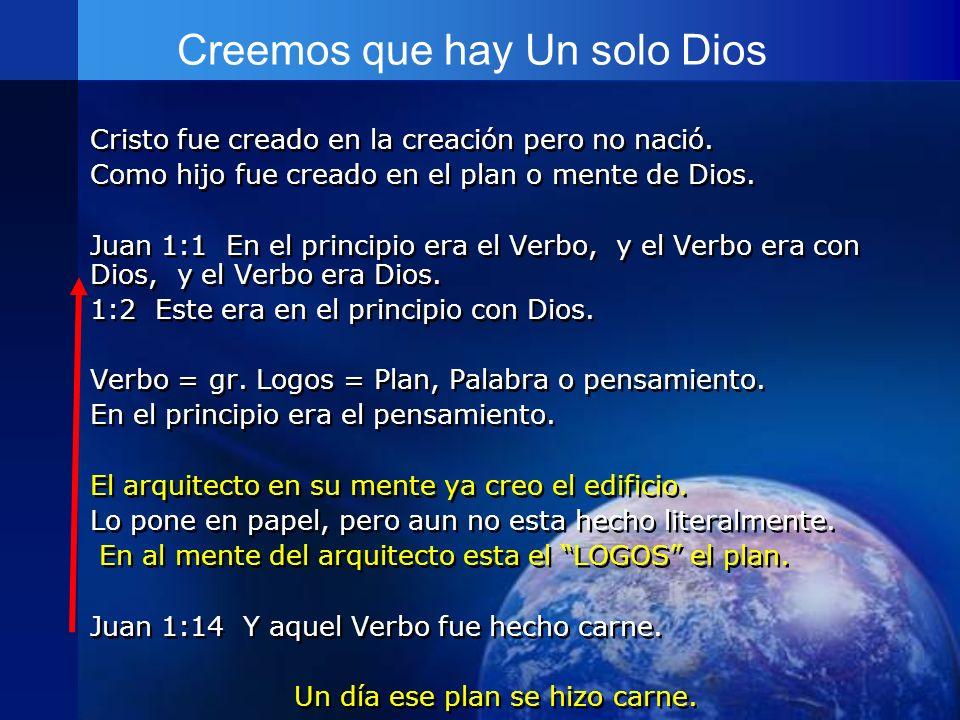 Creemos que hay Un solo Dios Cristo fue creado en la creación pero no nació. Como hijo fue creado en el plan o mente de Dios. Juan 1:1 En el principio