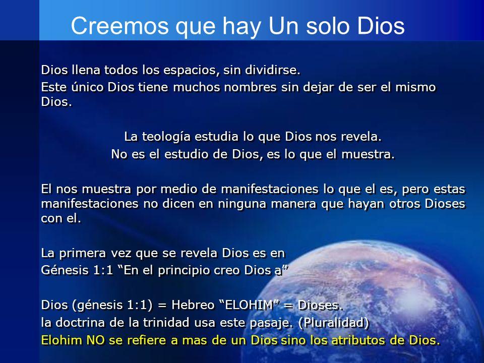Creemos que hay Un solo Dios Dios llena todos los espacios, sin dividirse. Este único Dios tiene muchos nombres sin dejar de ser el mismo Dios. La teo