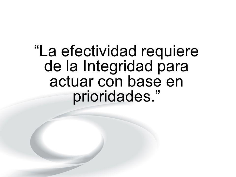 La efectividad requiere de la Integridad para actuar con base en prioridades.
