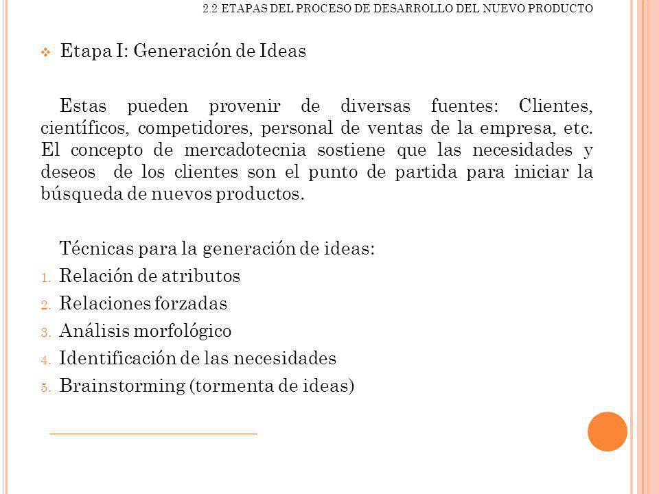 2.2 ETAPAS DEL PROCESO DE DESARROLLO DEL NUEVO PRODUCTO Etapa I: Generación de Ideas Estas pueden provenir de diversas fuentes: Clientes, científicos,
