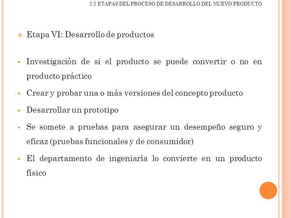 2.2 ETAPAS DEL PROCESO DE DESARROLLO DEL NUEVO PRODUCTO Etapa VI: Desarrollo de productos Investigación de si el producto se puede convertir o no en p