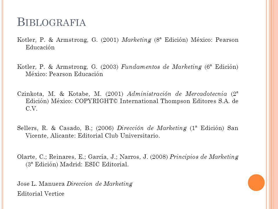 B IBLOGRAFIA Kotler, P. & Armstrong, G. (2001) Marketing (8ª Edición) México: Pearson Educación Kotler, P. & Armstrong, G. (2003) Fundamentos de Marke
