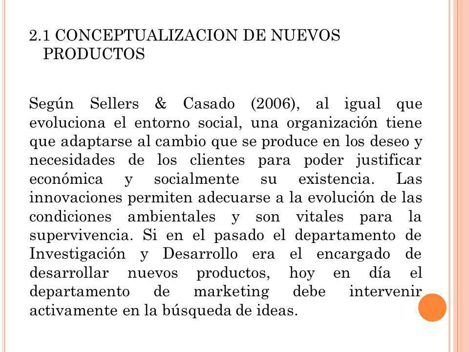 2.1 CONCEPTUALIZACION DE NUEVOS PRODUCTOS Según Sellers & Casado (2006), al igual que evoluciona el entorno social, una organización tiene que adaptar