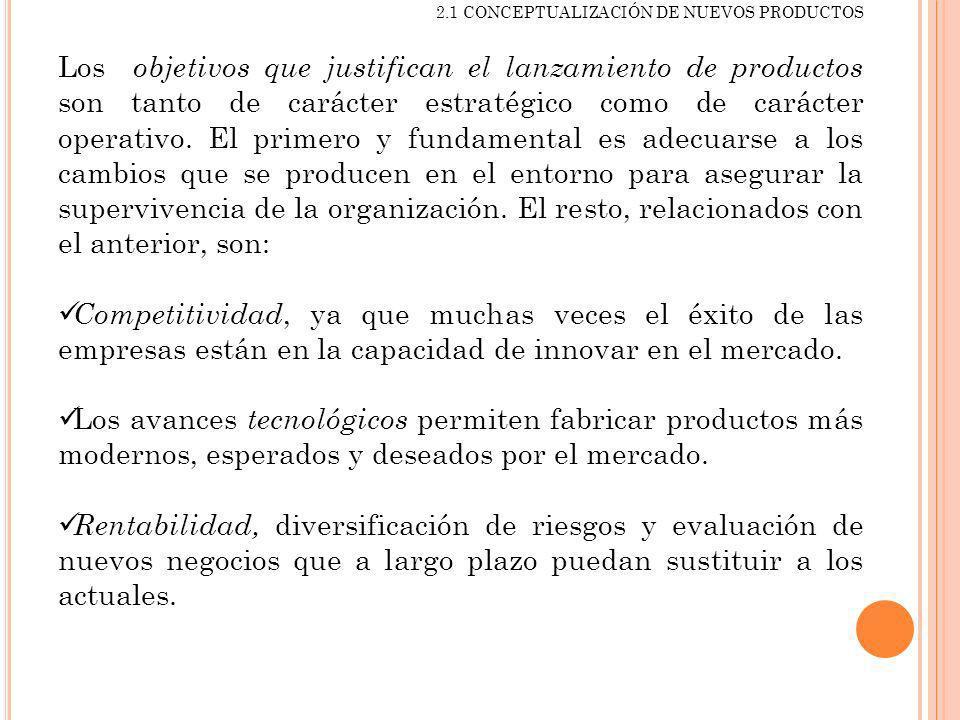 2.1 CONCEPTUALIZACIÓN DE NUEVOS PRODUCTOS Los objetivos que justifican el lanzamiento de productos son tanto de carácter estratégico como de carácter