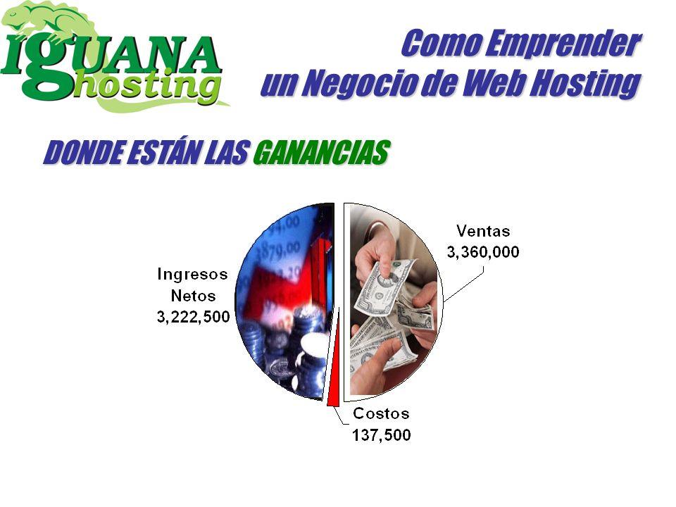 Como Emprender un Negocio de Web Hosting 11.264Mb / 100 Mb ~ 112 Clientes 30.000 X 112 Clientes = 3.360.000 Ingreso bruto =Bs 3.360.000 Costos: 137.500 Ingresos Netos: 3.222.500 / Mes Adicionalmente puede tener los VPS que desees.
