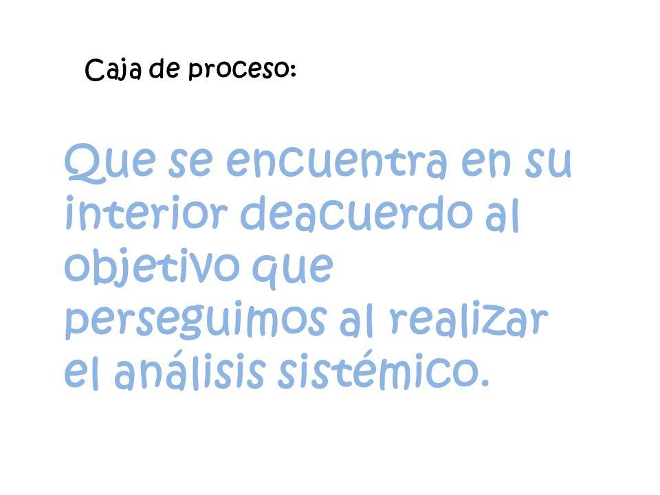 Caja de proceso: Que se encuentra en su interior deacuerdo al objetivo que perseguimos al realizar el análisis sistémico.