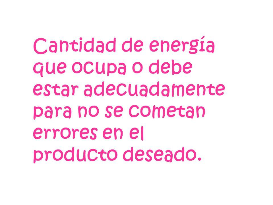 Cantidad de energía que ocupa o debe estar adecuadamente para no se cometan errores en el producto deseado.