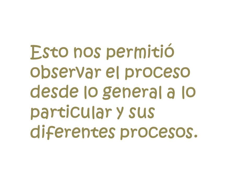 Esto nos permitió observar el proceso desde lo general a lo particular y sus diferentes procesos.