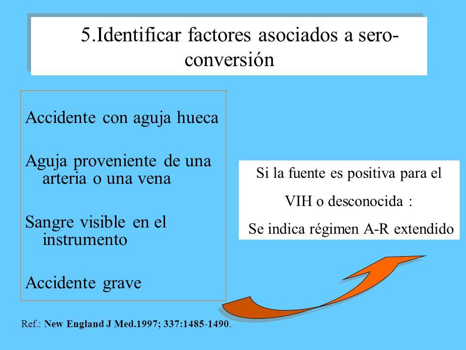 5.Identificar factores asociados a sero- conversión Accidente con aguja hueca Aguja proveniente de una arteria o una vena Sangre visible en el instrum