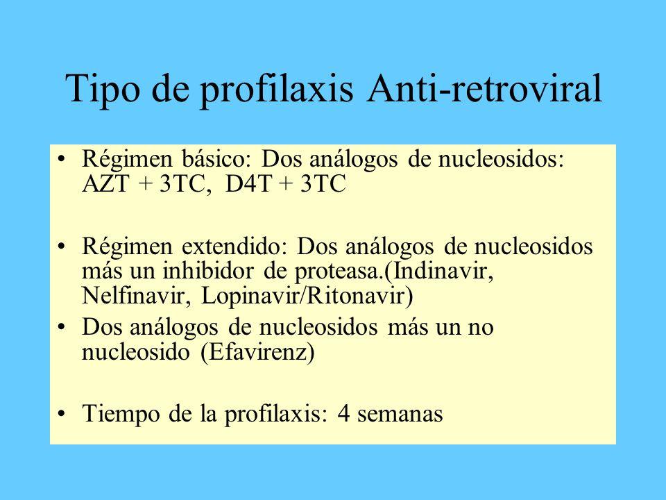 Tipo de profilaxis Anti-retroviral Régimen básico: Dos análogos de nucleosidos: AZT + 3TC, D4T + 3TC Régimen extendido: Dos análogos de nucleosidos má