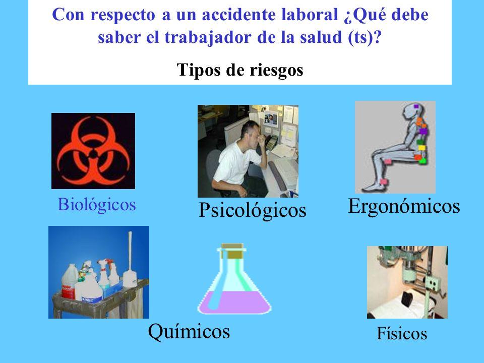 Con respecto a un accidente laboral ¿Qué debe saber el trabajador de la salud (ts)? Tipos de riesgos Biológicos Psicológicos Ergonómicos Químicos Físi