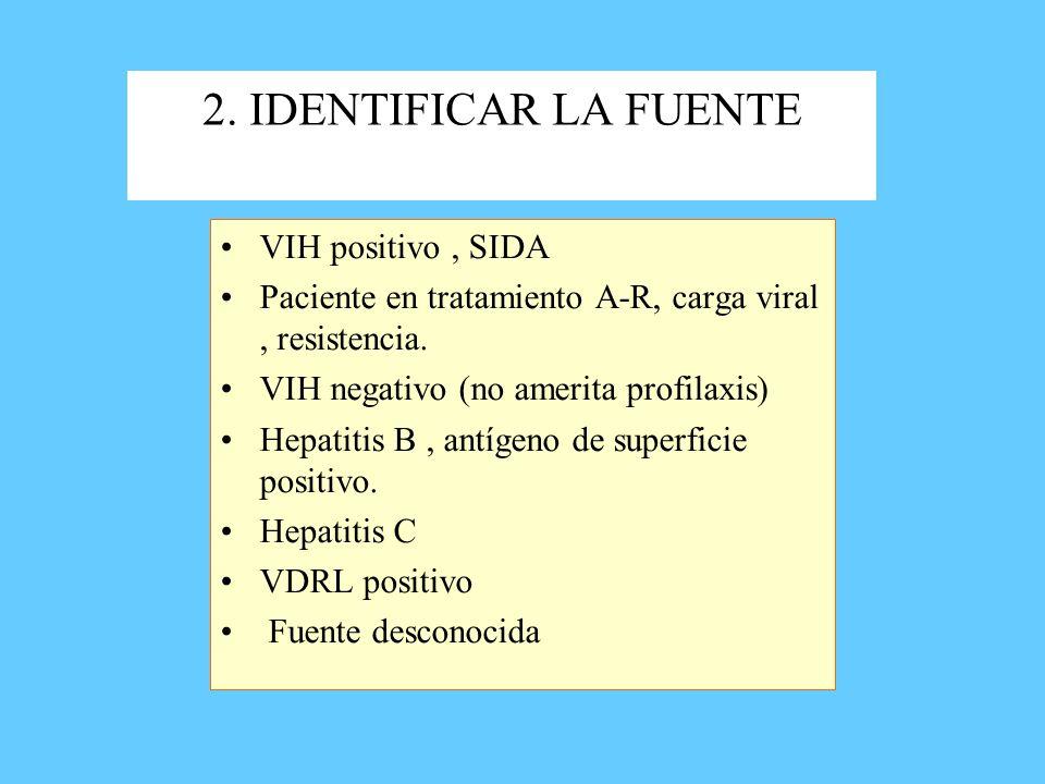 2. IDENTIFICAR LA FUENTE VIH positivo, SIDA Paciente en tratamiento A-R, carga viral, resistencia. VIH negativo (no amerita profilaxis) Hepatitis B, a