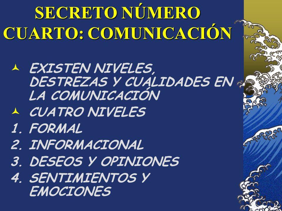 SECRETO NÚMERO CUARTO: COMUNICACIÓN EXISTEN NIVELES, DESTREZAS Y CUALIDADES EN LA COMUNICACIÓN CUATRO NIVELES 1.FORMAL 2.INFORMACIONAL 3.DESEOS Y OPIN