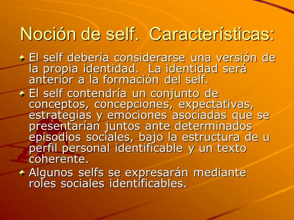 Noción de self. Características: El self debería considerarse una versión de la propia identidad. La identidad será anterior a la formación del self.