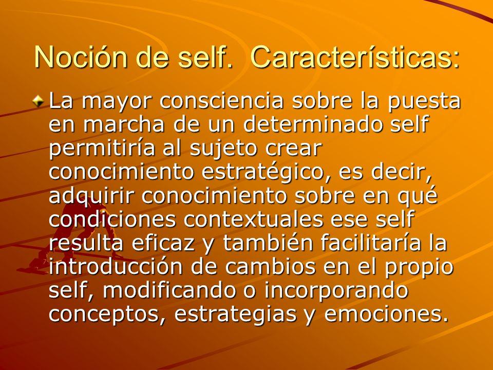 Noción de self. Características: La mayor consciencia sobre la puesta en marcha de un determinado self permitiría al sujeto crear conocimiento estraté