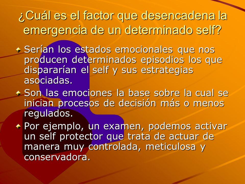 ¿Cuál es el factor que desencadena la emergencia de un determinado self? Serían los estados emocionales que nos producen determinados episodios los qu