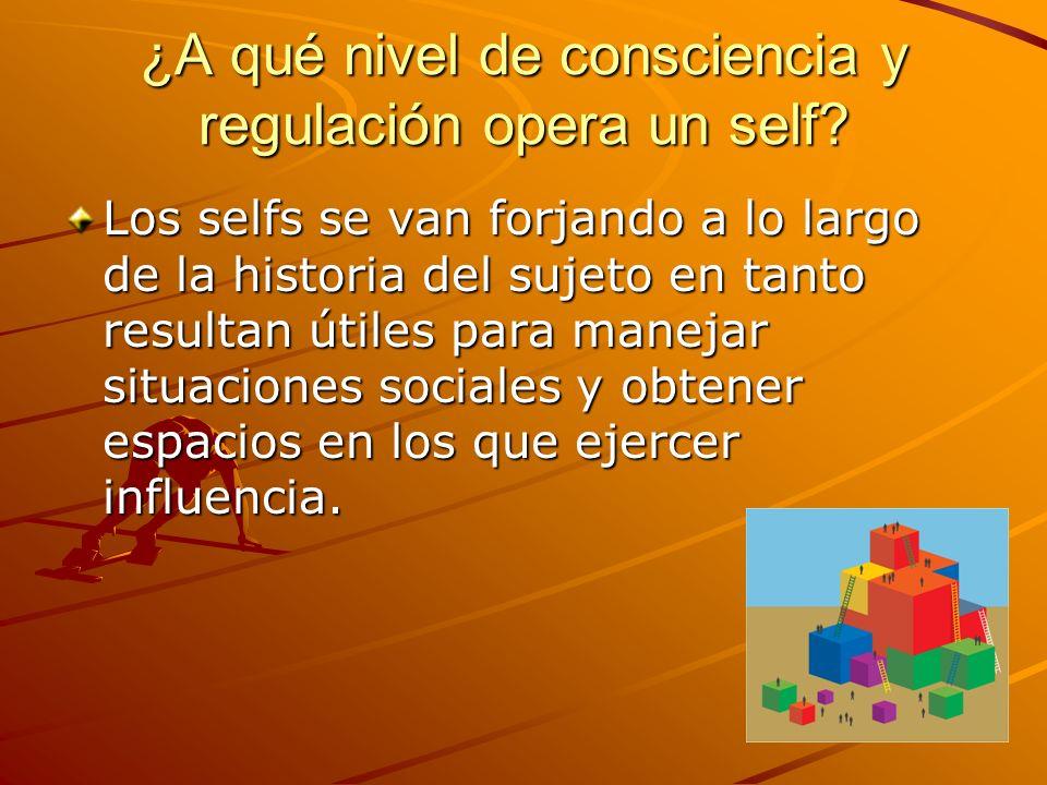 ¿A qué nivel de consciencia y regulación opera un self? Los selfs se van forjando a lo largo de la historia del sujeto en tanto resultan útiles para m