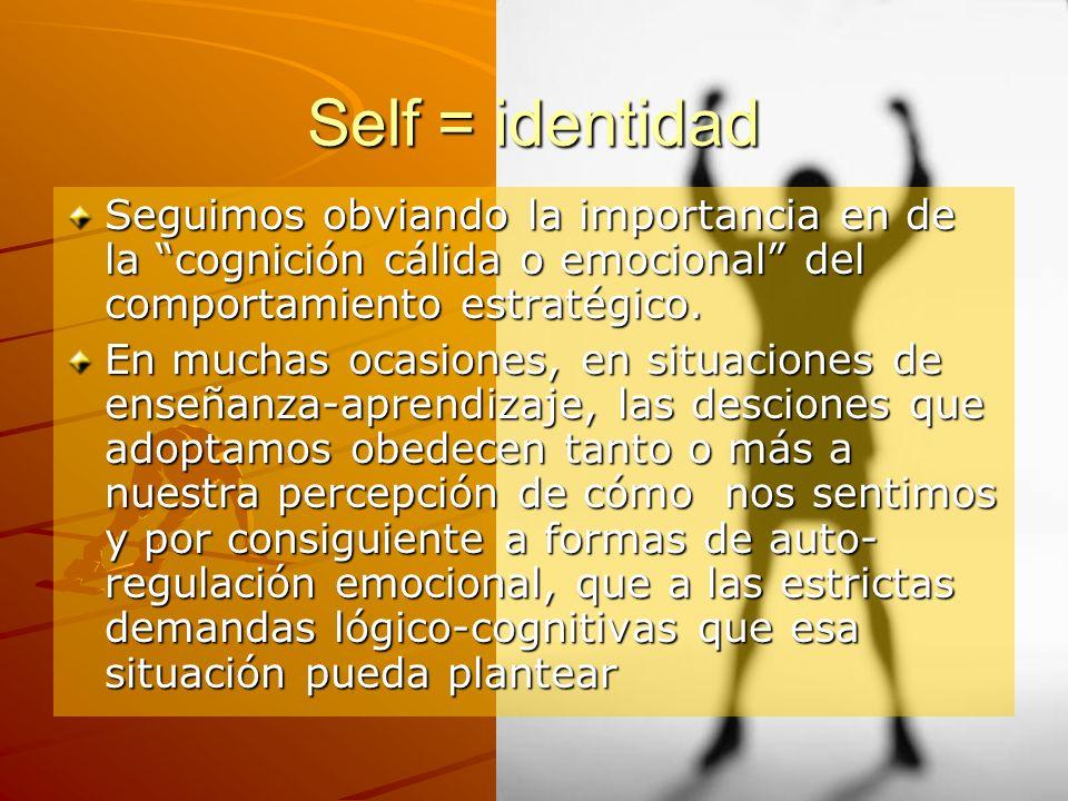 Self = identidad Seguimos obviando la importancia en de la cognición cálida o emocional del comportamiento estratégico. En muchas ocasiones, en situac