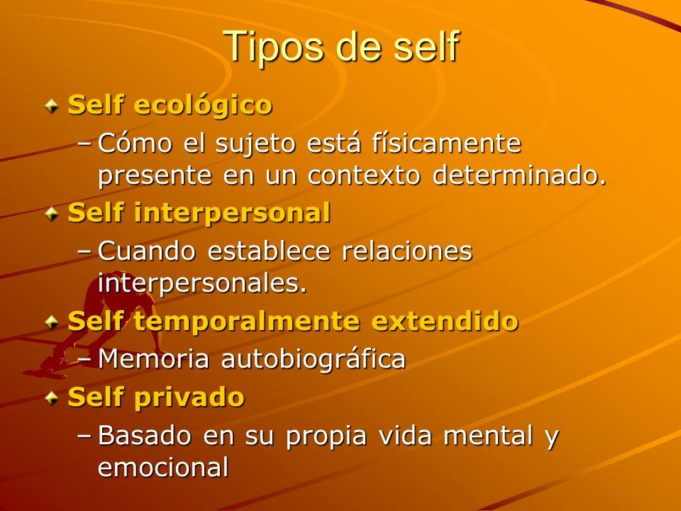 Tipos de self Self ecológico –Cómo el sujeto está físicamente presente en un contexto determinado. Self interpersonal –Cuando establece relaciones int