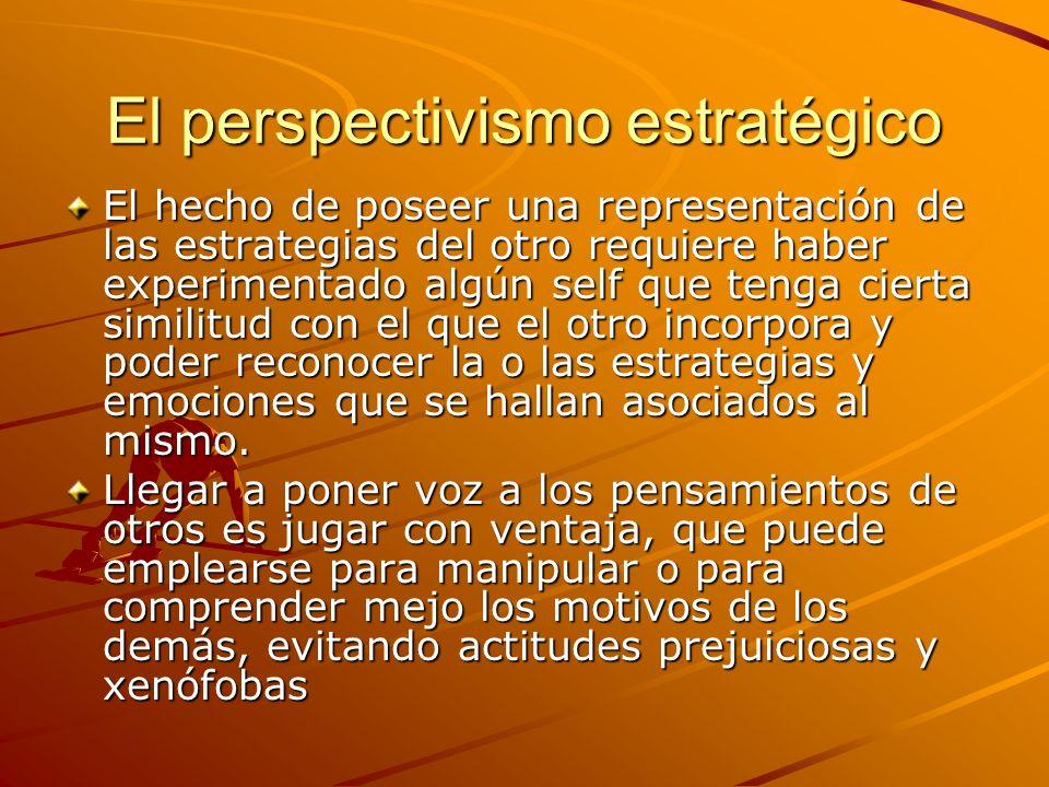 El perspectivismo estratégico El hecho de poseer una representación de las estrategias del otro requiere haber experimentado algún self que tenga cier