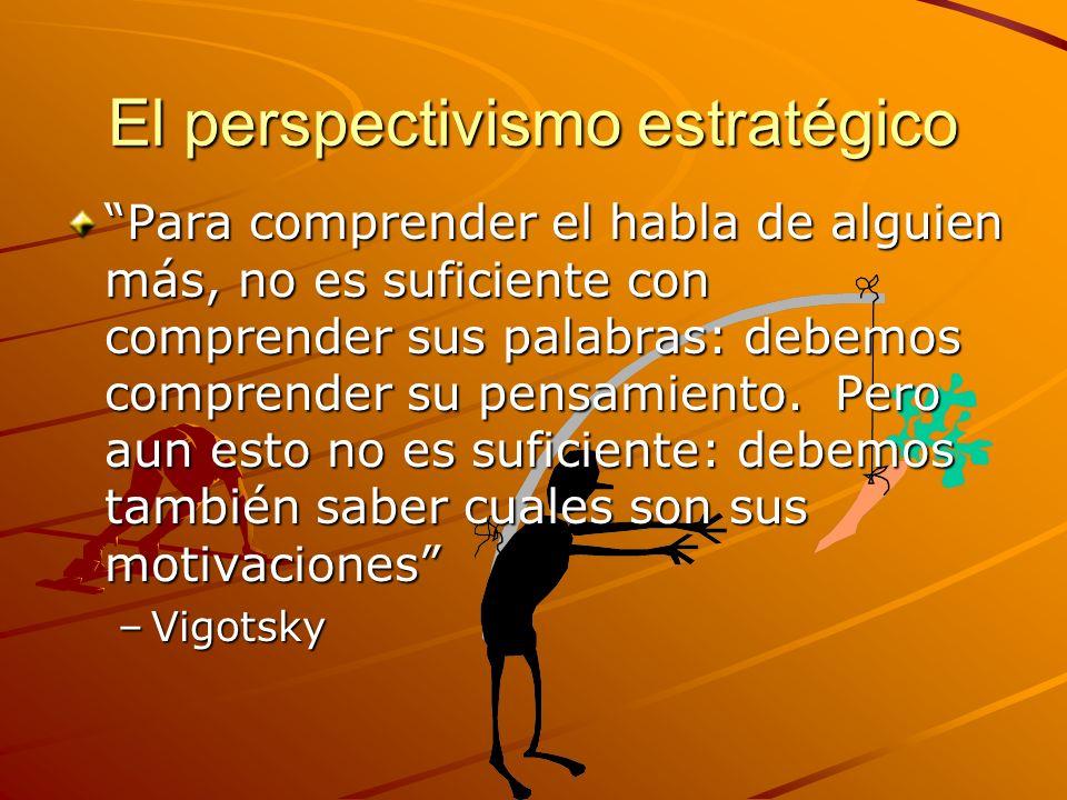 El perspectivismo estratégico Para comprender el habla de alguien más, no es suficiente con comprender sus palabras: debemos comprender su pensamiento