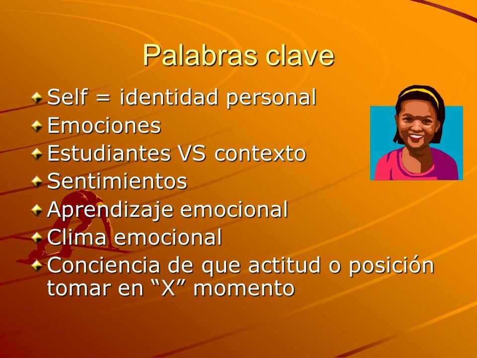 Palabras clave Self = identidad personal Emociones Estudiantes VS contexto Sentimientos Aprendizaje emocional Clima emocional Conciencia de que actitu