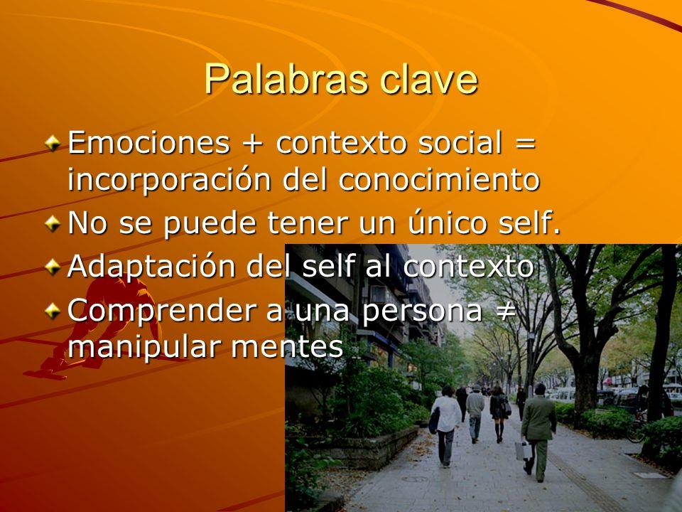 Palabras clave Emociones + contexto social = incorporación del conocimiento No se puede tener un único self. Adaptación del self al contexto Comprende