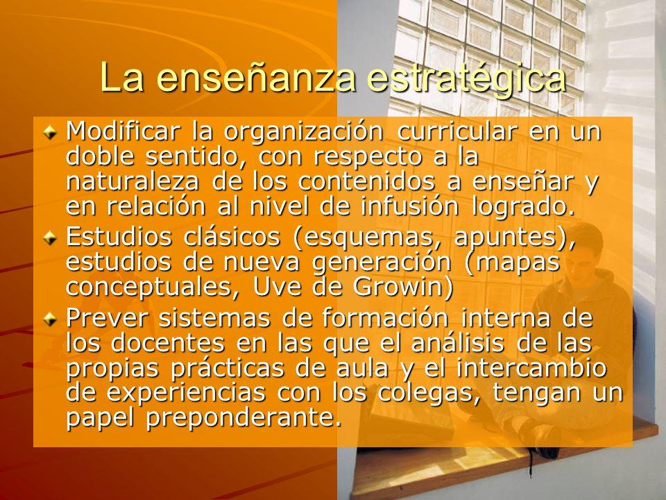 La enseñanza estratégica Modificar la organización curricular en un doble sentido, con respecto a la naturaleza de los contenidos a enseñar y en relac