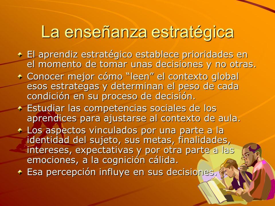 La enseñanza estratégica El aprendiz estratégico establece prioridades en el momento de tomar unas decisiones y no otras. Conocer mejor cómo leen el c