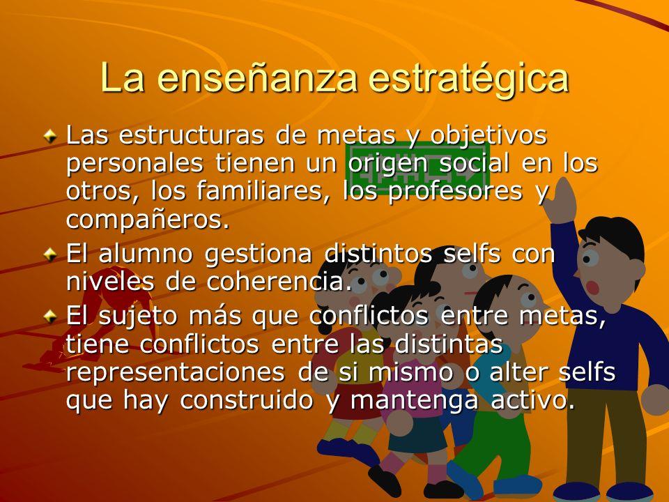 La enseñanza estratégica Las estructuras de metas y objetivos personales tienen un origen social en los otros, los familiares, los profesores y compañ