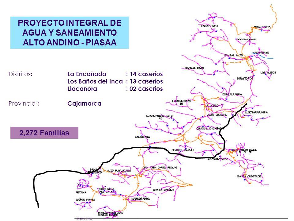 Shaullo Chico PROYECTO INTEGRAL DE AGUA Y SANEAMIENTO ALTO ANDINO - PIASAA 2,272 Familias Distritos : La Encañada : 14 caseríos Los Baños del Inca: 13