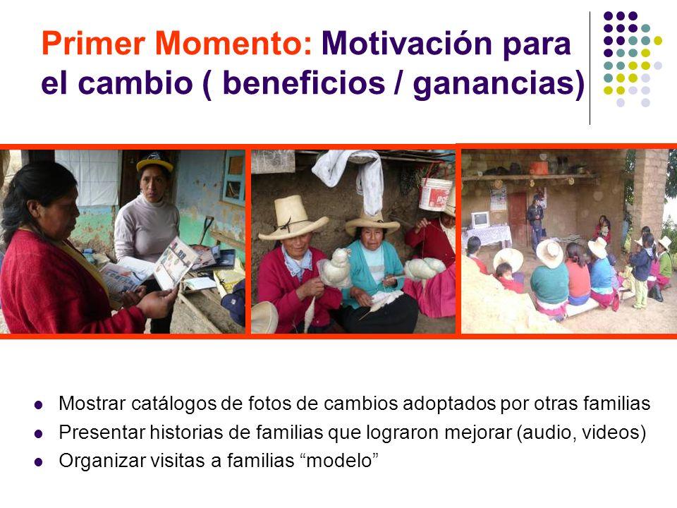 Primer Momento: Motivación para el cambio ( beneficios / ganancias) Mostrar catálogos de fotos de cambios adoptados por otras familias Presentar histo