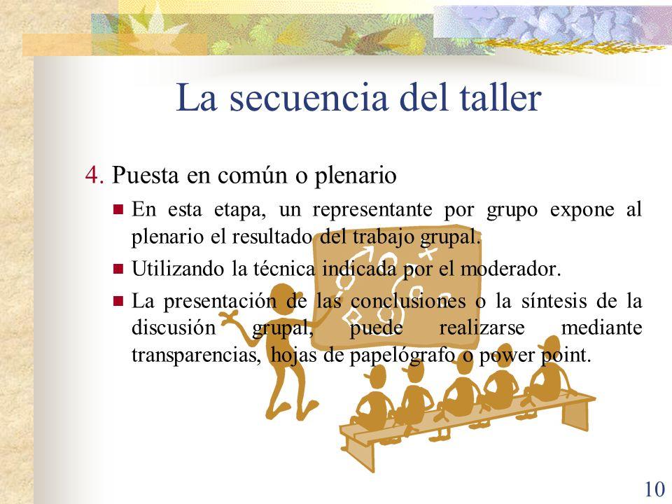 10 4.Puesta en común o plenario En esta etapa, un representante por grupo expone al plenario el resultado del trabajo grupal. Utilizando la técnica in
