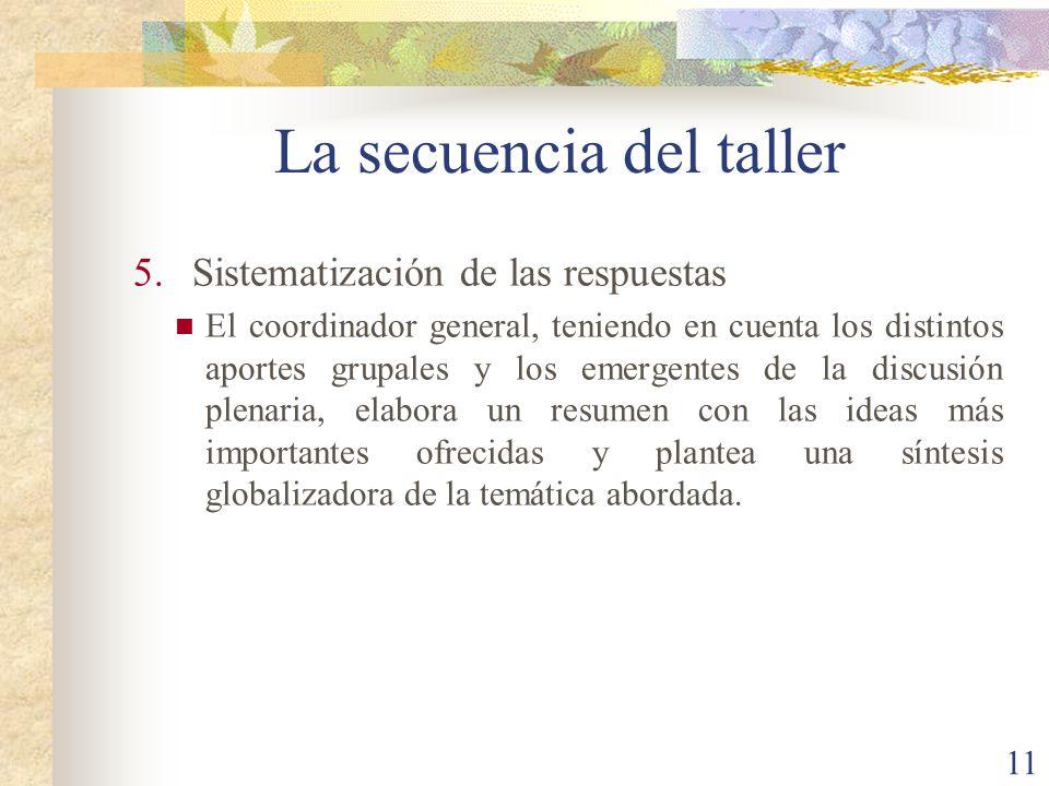 11 5.Sistematización de las respuestas El coordinador general, teniendo en cuenta los distintos aportes grupales y los emergentes de la discusión plen