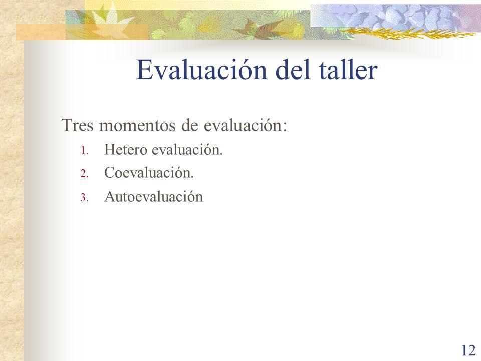 12 Tres momentos de evaluación: 1. Hetero evaluación. 2. Coevaluación. 3. Autoevaluación Evaluación del taller