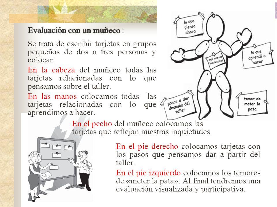 Evaluación con un muñeco Evaluación con un muñeco : Se trata de escribir tarjetas en grupos pequeños de dos a tres personas y colocar: En la cabeza de