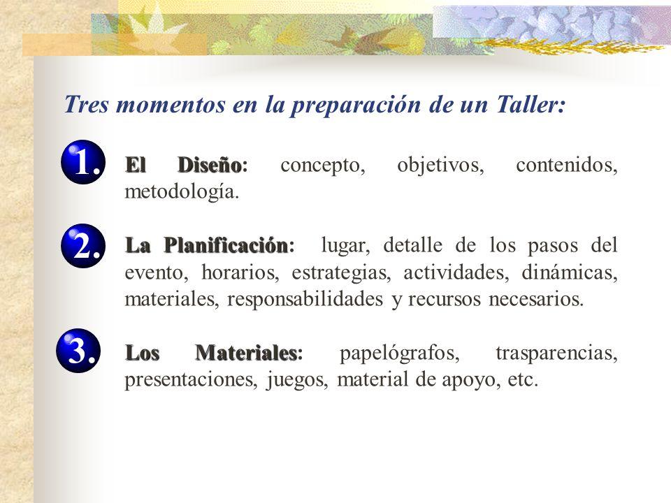 Tres momentos en la preparación de un Taller: El Diseño El Diseño: concepto, objetivos, contenidos, metodología. La Planificación La Planificación: lu
