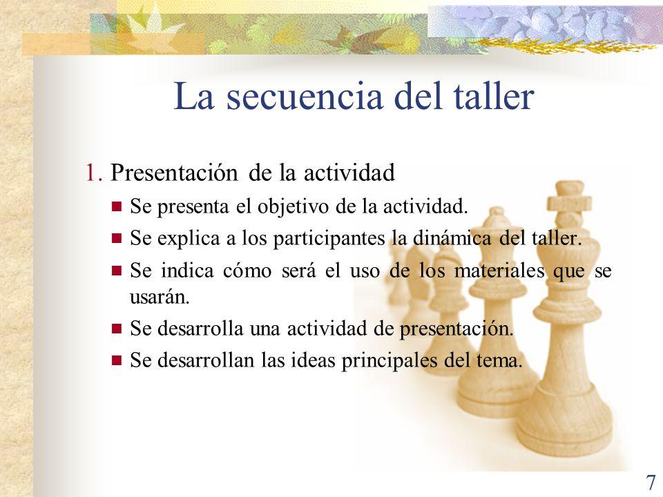 7 La secuencia del taller 1.Presentación de la actividad Se presenta el objetivo de la actividad. Se explica a los participantes la dinámica del talle