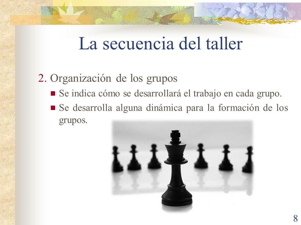 8 2.Organización de los grupos Se indica cómo se desarrollará el trabajo en cada grupo. Se desarrolla alguna dinámica para la formación de los grupos.