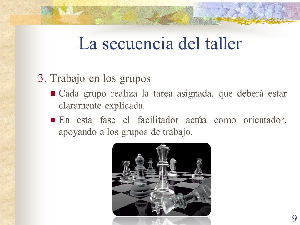 9 3.Trabajo en los grupos Cada grupo realiza la tarea asignada, que deberá estar claramente explicada. En esta fase el facilitador actúa como orientad