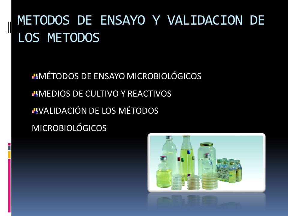 METODOS DE ENSAYO Y VALIDACION DE LOS METODOS MÉTODOS DE ENSAYO MICROBIOLÓGICOS MEDIOS DE CULTIVO Y REACTIVOS VALIDACIÓN DE LOS MÉTODOS MICROBIOLÓGICO