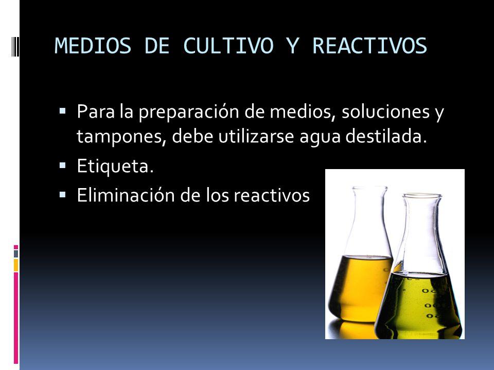 MEDIOS DE CULTIVO Y REACTIVOS Para la preparación de medios, soluciones y tampones, debe utilizarse agua destilada. Etiqueta. Eliminación de los react