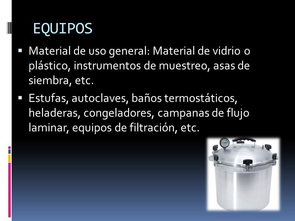 EQUIPOS Material de uso general: Material de vidrio o plástico, instrumentos de muestreo, asas de siembra, etc. Estufas, autoclaves, baños termostátic