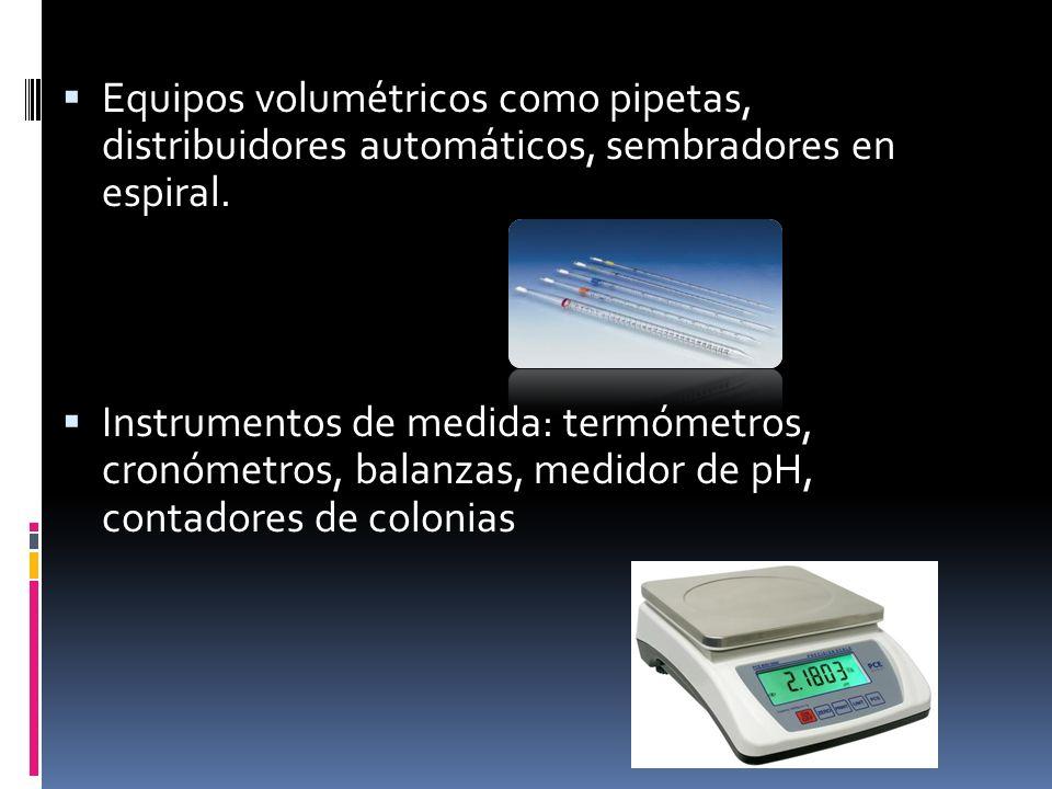 Equipos volumétricos como pipetas, distribuidores automáticos, sembradores en espiral. Instrumentos de medida: termómetros, cronómetros, balanzas, med