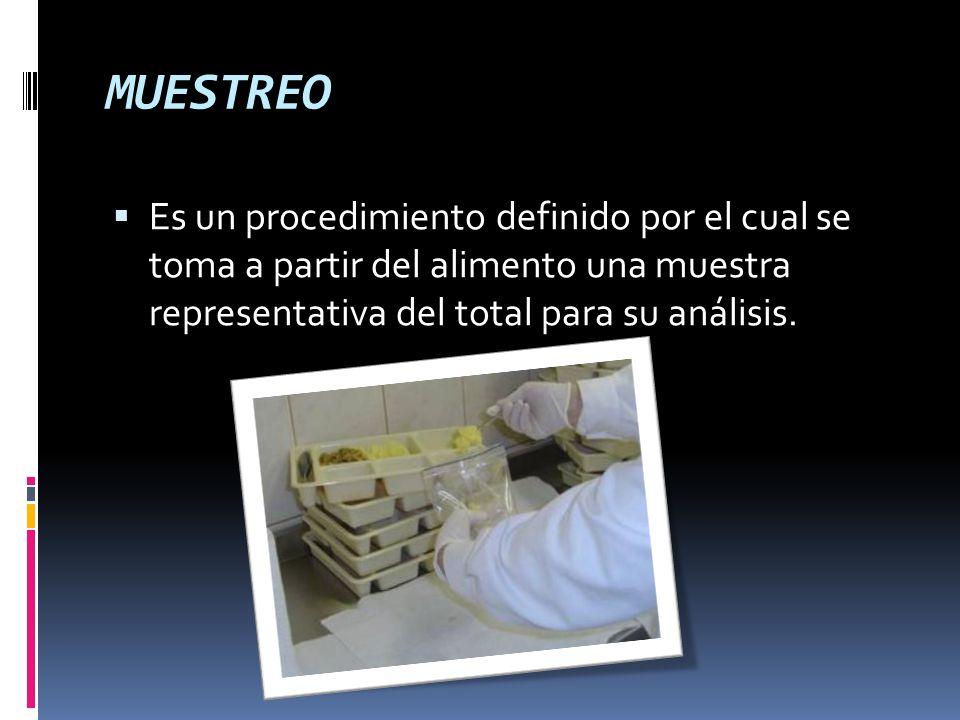MUESTREO Es un procedimiento definido por el cual se toma a partir del alimento una muestra representativa del total para su análisis.