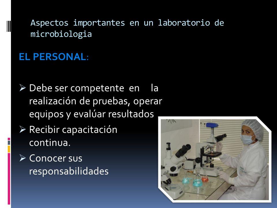 Aspectos importantes en un laboratorio de microbiologia EL PERSONAL: Debe ser competente en la realización de pruebas, operar equipos y evalúar result